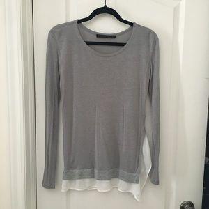 AllSaints tunic top with gauzy trim, size 0.